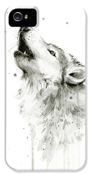 Wolf iPhone 5s Case - Howling Wolf Watercolor by Olga Shvartsur