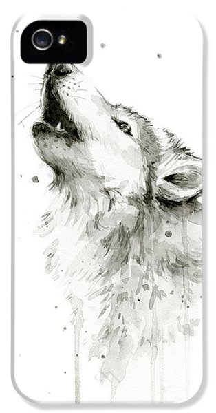 Howling Wolf Watercolor IPhone 5s Case