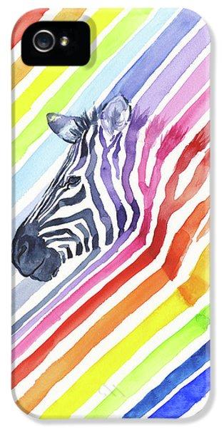 Rainbow Zebra Pattern IPhone 5s Case by Olga Shvartsur
