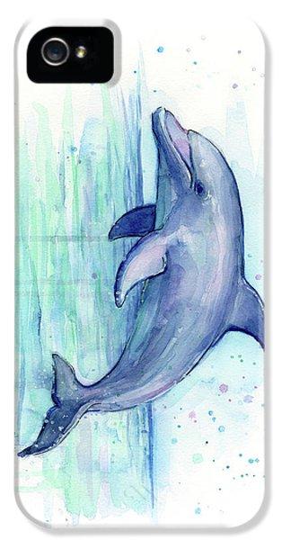 Dolphin iPhone 5s Case - Dolphin Watercolor by Olga Shvartsur