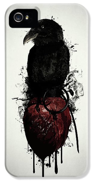 Crow iPhone 5s Case - Raven And Heart Grenade by Nicklas Gustafsson