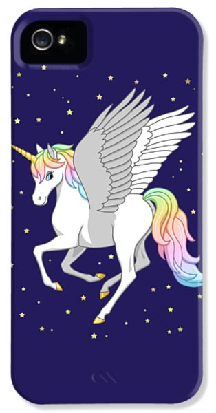 Pegasus iPhone 5s Case - Pretty Rainbow Unicorn Flying Horse by Crista Forest