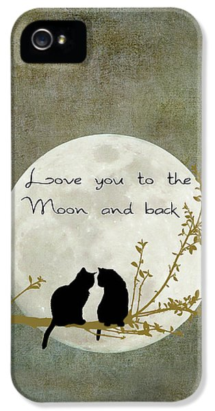 Cat iPhone 5s Case - Love You To The Moon And Back by Linda Lees