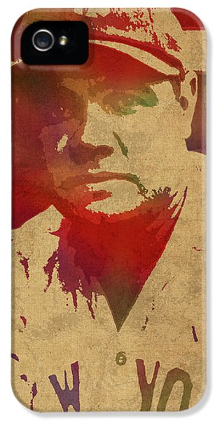 Babe Ruth Baseball Player New York Yankees Vintage Watercolor Portrait On Worn Canvas IPhone 5s Case by Design Turnpike