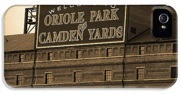 Oriole iPhone 5s Case - Baltimore Orioles Park At Camden Yards Sepia by Frank Romeo