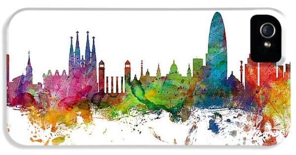 Barcelona Spain Skyline Panoramic IPhone 5s Case by Michael Tompsett