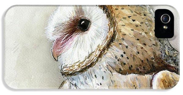 Owl iPhone 5s Case - Barn Owl Watercolor by Olga Shvartsur