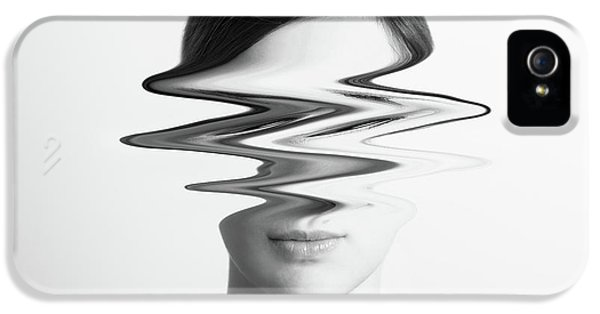 Black And White Abstract Woman Portrait Of Restlessness Concept IPhone 5s Case by Radu Bercan