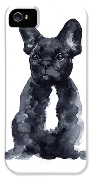 Bull iPhone 5s Case - Black French Bulldog Watercolor Poster by Joanna Szmerdt