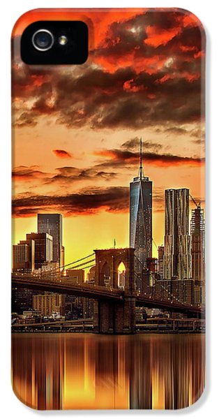Blazing Manhattan Skyline IPhone 5s Case by Az Jackson