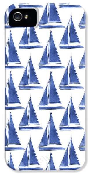 Boat iPhone 5s Case - Blue And White Sailboats Pattern- Art By Linda Woods by Linda Woods