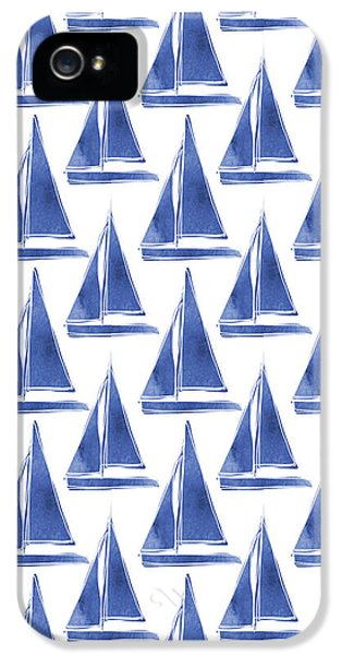 Blue And White Sailboats Pattern- Art By Linda Woods IPhone 5s Case by Linda Woods