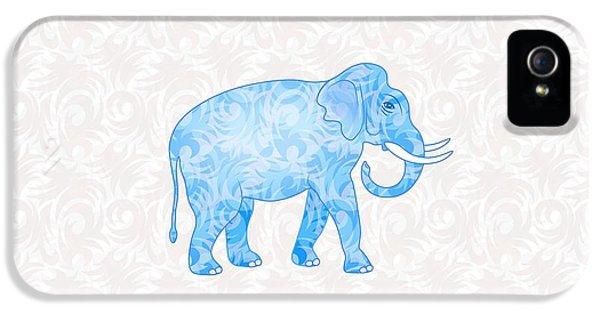 Blue Damask Elephant IPhone 5s Case by Antique Images