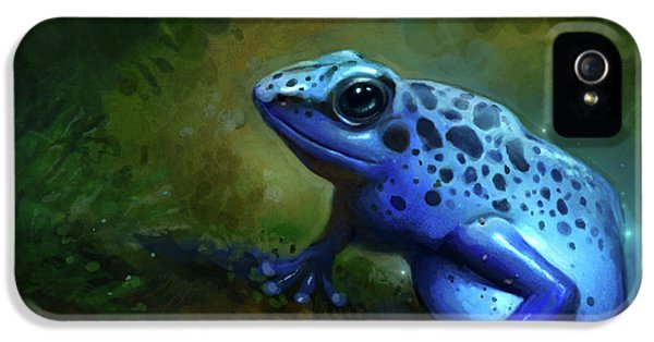 Amphibians iPhone 5s Case - Blue Frog by Caroline Jamhour