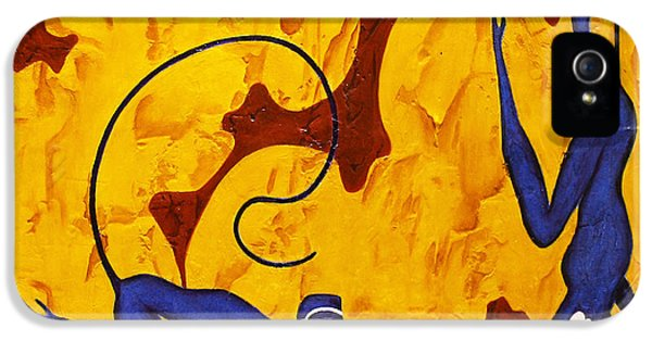 Bogdanoff iPhone 5s Case - Blue Monkeys No. 45 by Steve Bogdanoff
