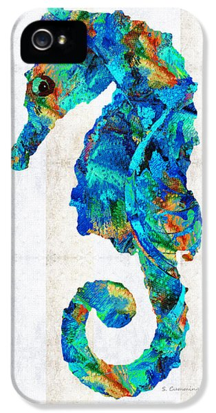 Seahorse iPhone 5s Case - Blue Seahorse Art By Sharon Cummings by Sharon Cummings