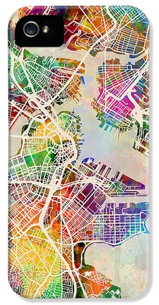 Boston Massachusetts Street Map IPhone 5s Case by Michael Tompsett