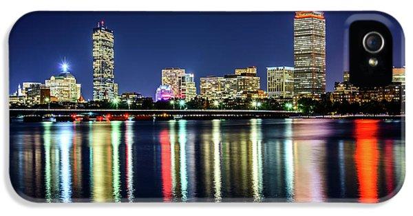 Harvard iPhone 5s Case - Boston Skyline At Night With Harvard Bridge by Paul Velgos