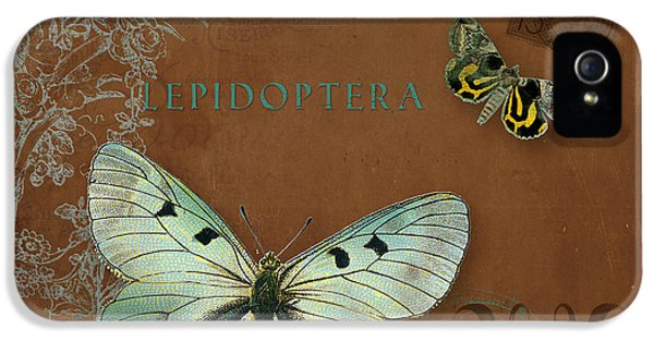 Etching iPhone 5s Case - Botanica Vintage Butterflies N Moths Collage 4 by Audrey Jeanne Roberts