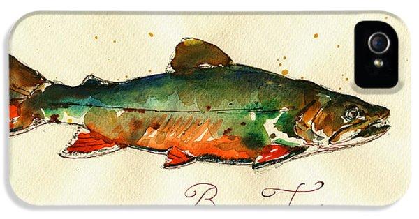 Trout iPhone 5s Case - Brook Trout Art by Juan  Bosco