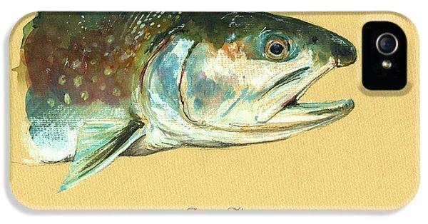 Trout iPhone 5s Case - Brook Trout Watercolor by Juan  Bosco