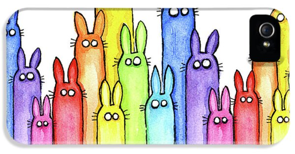 Bunny Rainbow Pattern IPhone 5s Case by Olga Shvartsur