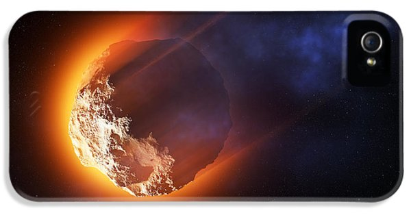 Aliens iPhone 5s Case - Burning Asteroid Entering The Atmoshere by Johan Swanepoel