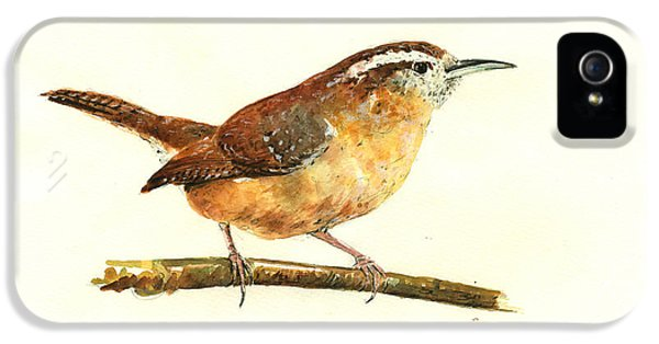 Carolina Wren Watercolor Painting IPhone 5s Case by Juan  Bosco