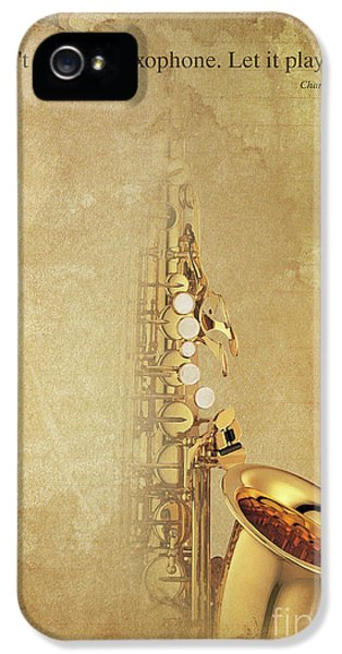 Charlie Parker Saxophone Brown Vintage Poster And Quote, Gift For Musicians IPhone 5s Case by Pablo Franchi