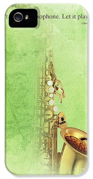 Charlie Parker Saxophone Green Vintage Poster And Quote, Gift For Musicians IPhone 5s Case by Pablo Franchi