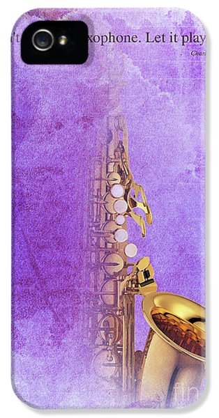 Charlie Parker Saxophone Purple Vintage Poster And Quote, Gift For Musicians IPhone 5s Case by Pablo Franchi