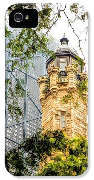 IPhone 5s Case featuring the painting Chicago Historic Water Tower Fog by Christopher Arndt