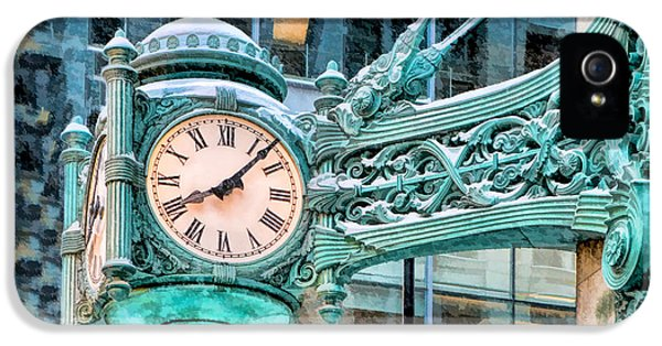 IPhone 5s Case featuring the painting Chicago Marshall Field State Street Clock by Christopher Arndt