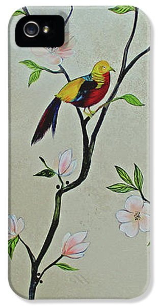 Humming Bird iPhone 5s Case - Chinoiserie - Magnolias And Birds #1 by Shadia Derbyshire