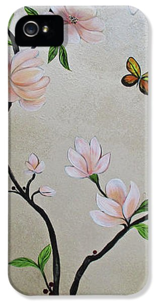 Humming Bird iPhone 5s Case - Chinoiserie - Magnolias And Birds #3 by Shadia Derbyshire