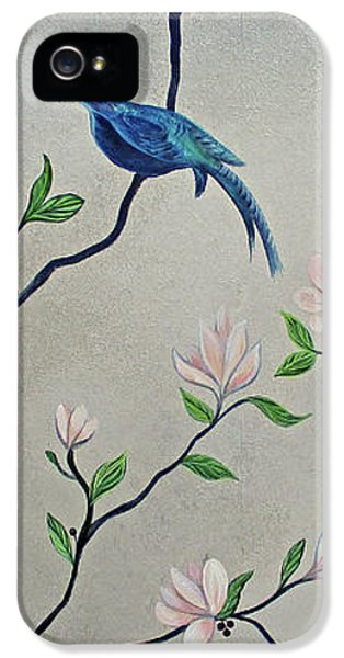 Humming Bird iPhone 5s Case - Chinoiserie - Magnolias And Birds #4 by Shadia Derbyshire
