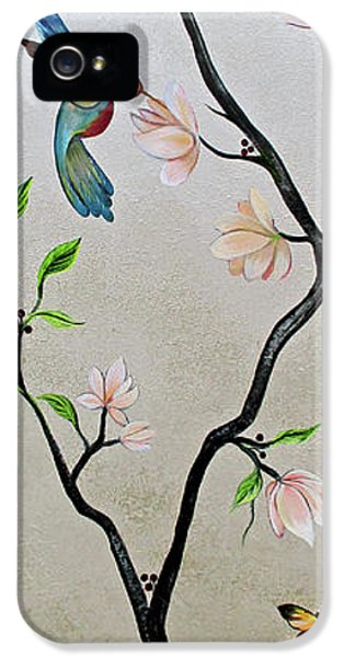 Humming Bird iPhone 5s Case - Chinoiserie - Magnolias And Birds #5 by Shadia Derbyshire