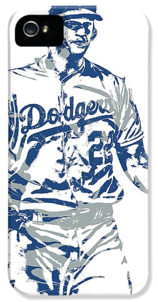 Los Angeles Dodgers iPhone 5s Case - Clayton Kershaw Los Angeles Dodgers Pixel Art 10 by Joe Hamilton