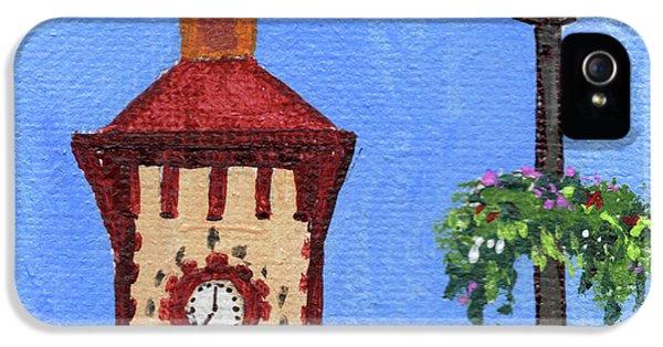Clock iPhone 5s Case - Clock Tower Impressionistic Landscape Xxxvii by Irina Sztukowski