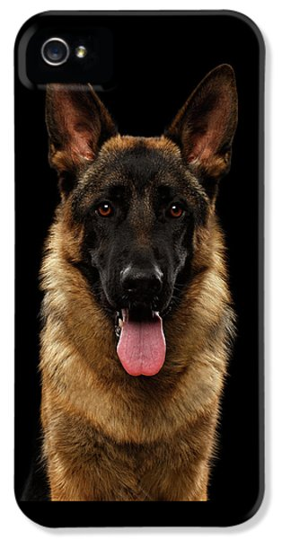 Closeup Portrait Of German Shepherd On Black  IPhone 5s Case by Sergey Taran