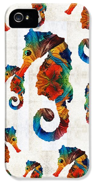 Colorful Seahorse Collage Art By Sharon Cummings IPhone 5s Case