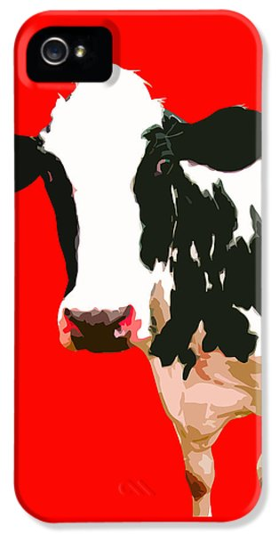 Cow iPhone 5s Case - Cow In Red World by Peter Oconor