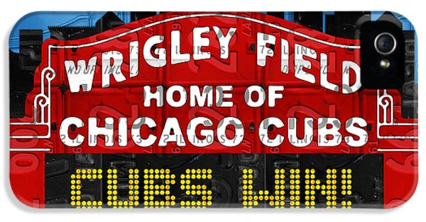 Professional Baseball Teams iPhone 5s Case - Cubs Win Wrigley Field Chicago Illinois Recycled Vintage License Plate Baseball Team Art by Design Turnpike