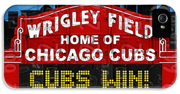 Cubs Win Wrigley Field Chicago Illinois Recycled Vintage License Plate Baseball Team Art IPhone 5s Case by Design Turnpike