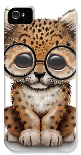Cute Baby Leopard Cub Wearing Glasses IPhone 5s Case by Jeff Bartels