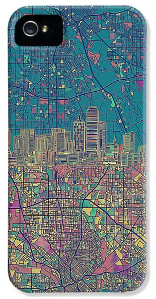 Dallas Skyline Map Green IPhone 5s Case