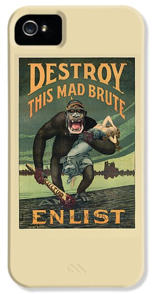 Gorilla iPhone 5s Case - Destroy This Mad Brute - Wwi Army Recruiting  by War Is Hell Store