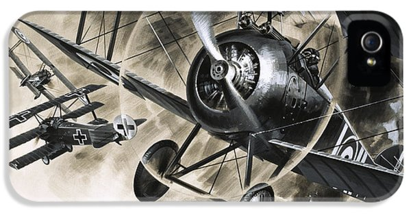 Dog Fight Between British Biplanes And A German Triplane IPhone 5s Case by Wilf Hardy