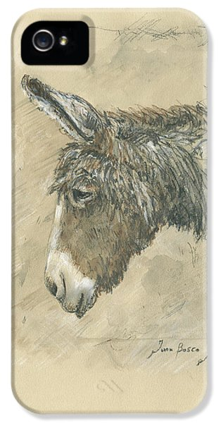 Donkey iPhone 5s Case - Donkey Portrait by Juan Bosco