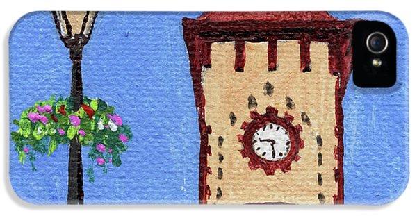 Clock iPhone 5s Case - Downtown Frankenmuth Michigan Impressionistic Landscape Xxxx by Irina Sztukowski
